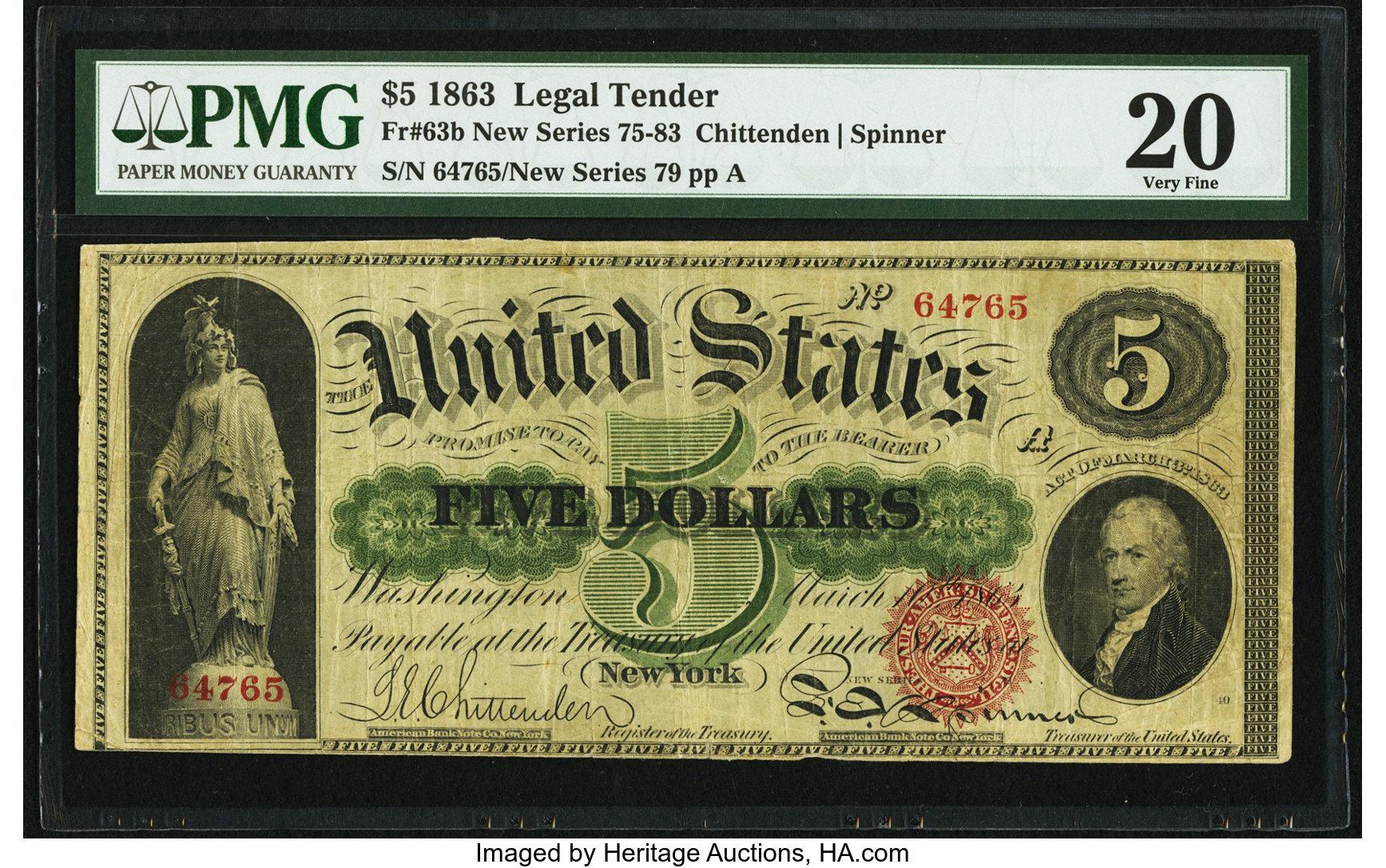 sample image for 1863 $5  Seal Type 2 (Fr.# 63b)