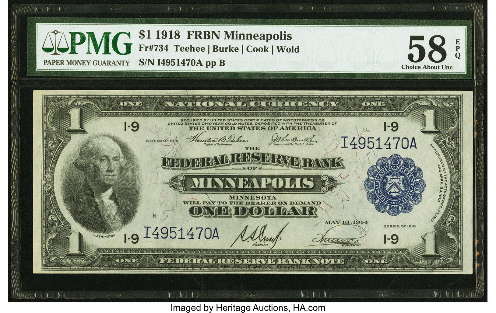 sample image for 1918 $1  Minneapolis (Fr.# 734)
