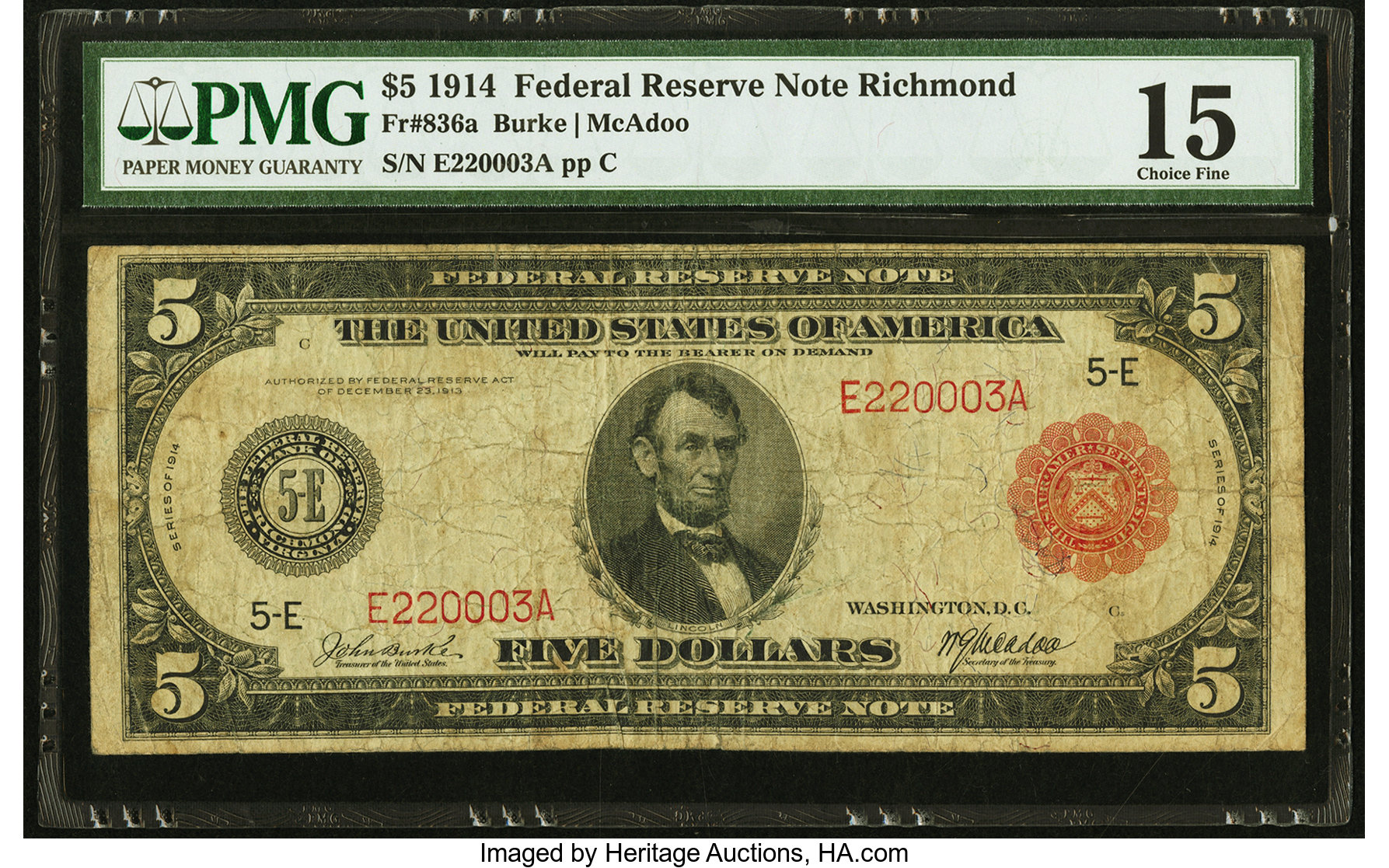 sample image for Fr.836A $5 Richmond RS