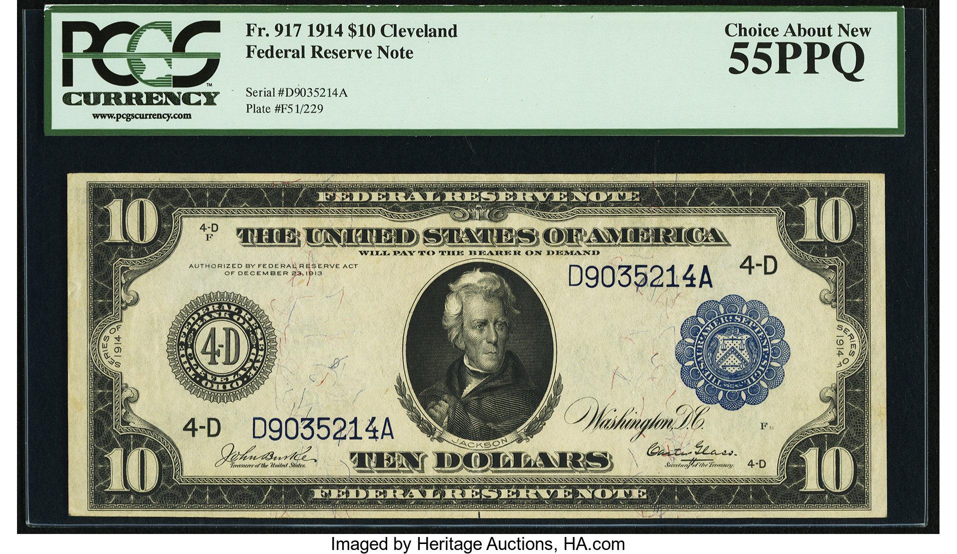 sample image for Fr.917 $10 Cleveland