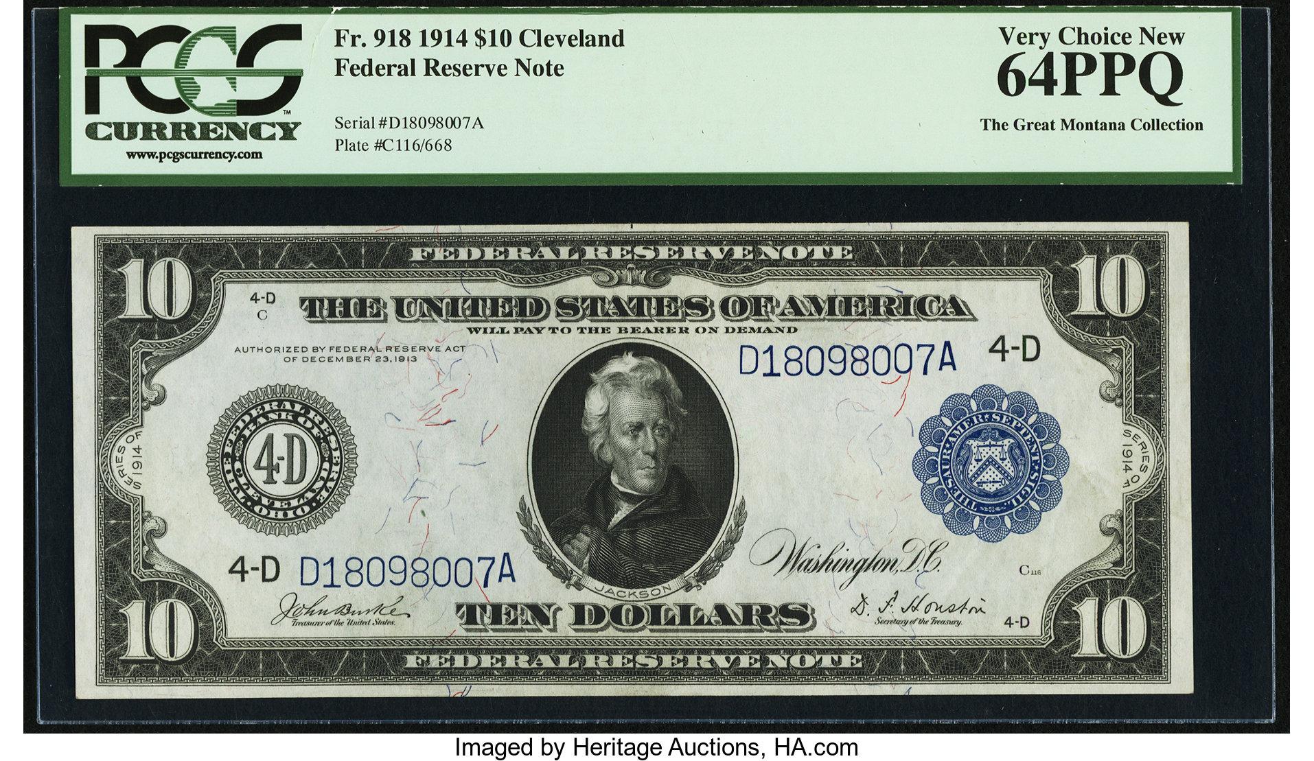 sample image for Fr.918 $10 Cleveland