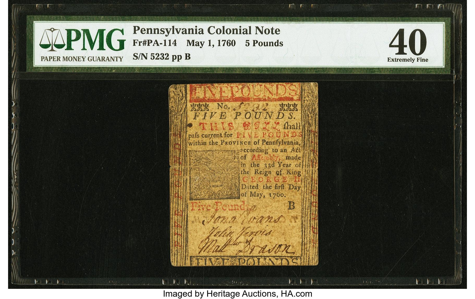 sample image for 1760 1-May £5 (Fr.# PA114)