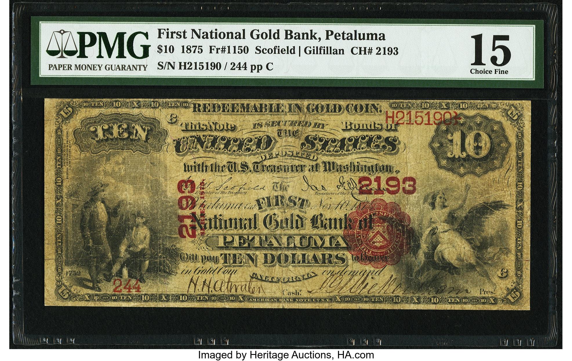 sample image for 1875 $10  Petaluma (Fr.# 1150)