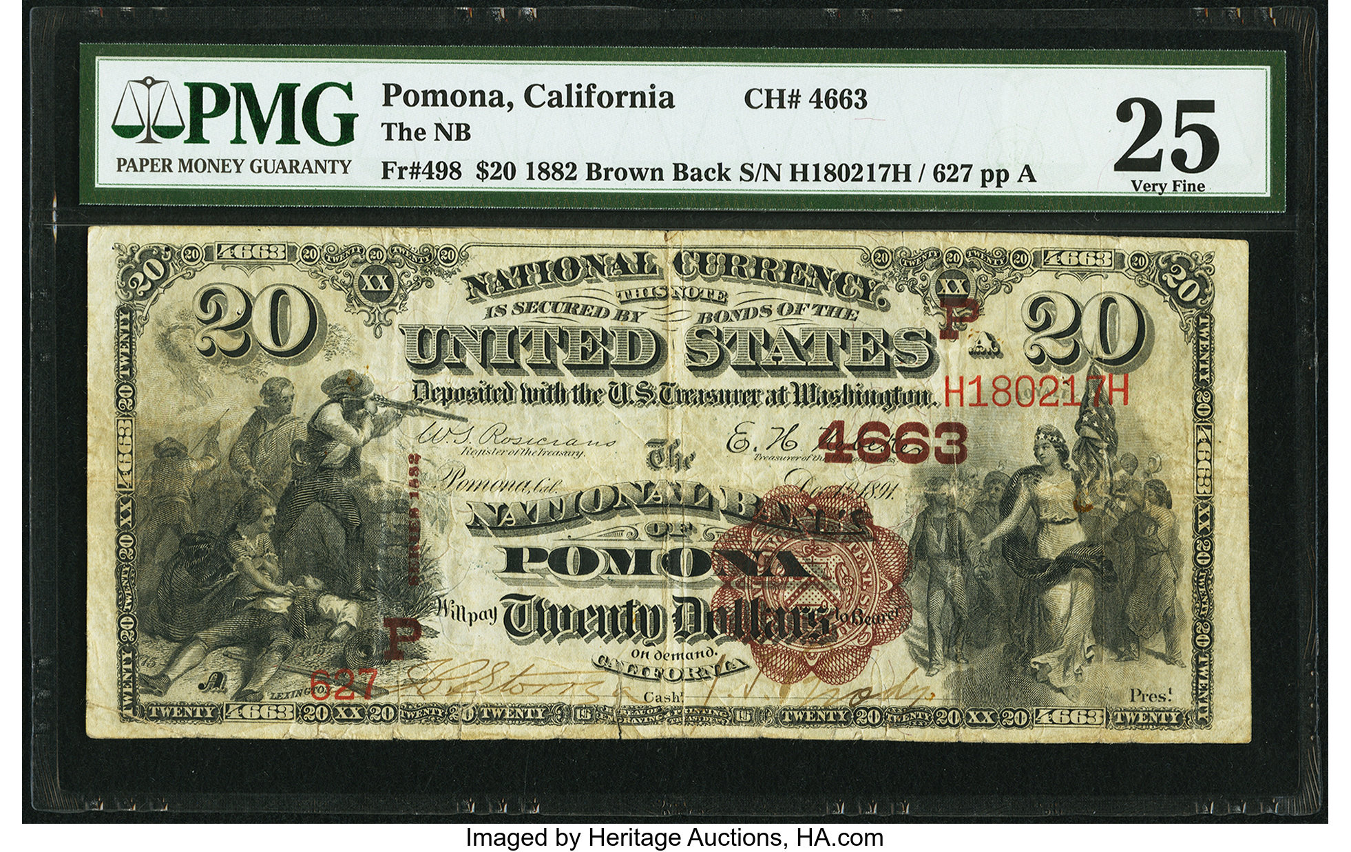 sample image for 1882 2nd Charter Period $20  Brown Back 1st Issue (Fr.# 498)