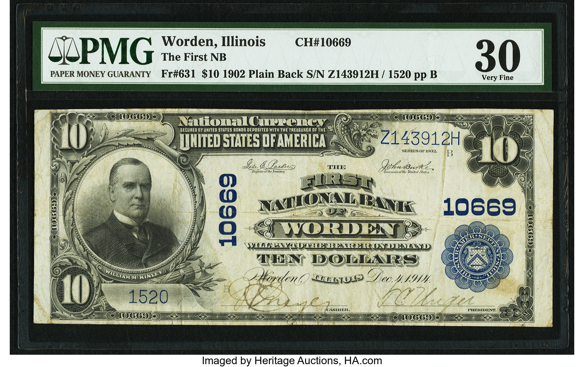 sample image for 1902 3rd Charter Period $10  Plain Back 3rd Issue (Fr.# 631)