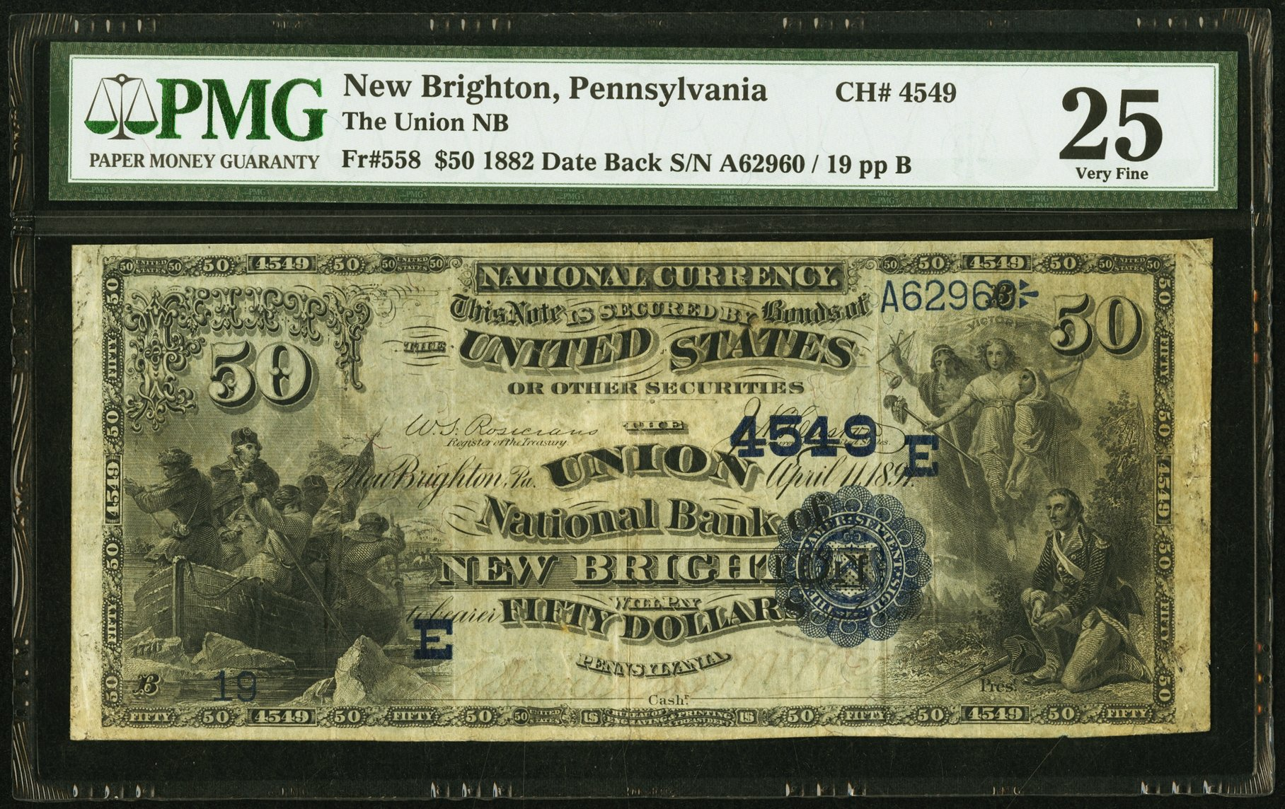 sample image for 1882 2nd Charter Period $50  Date Back 2nd Issue (Fr.# 558)