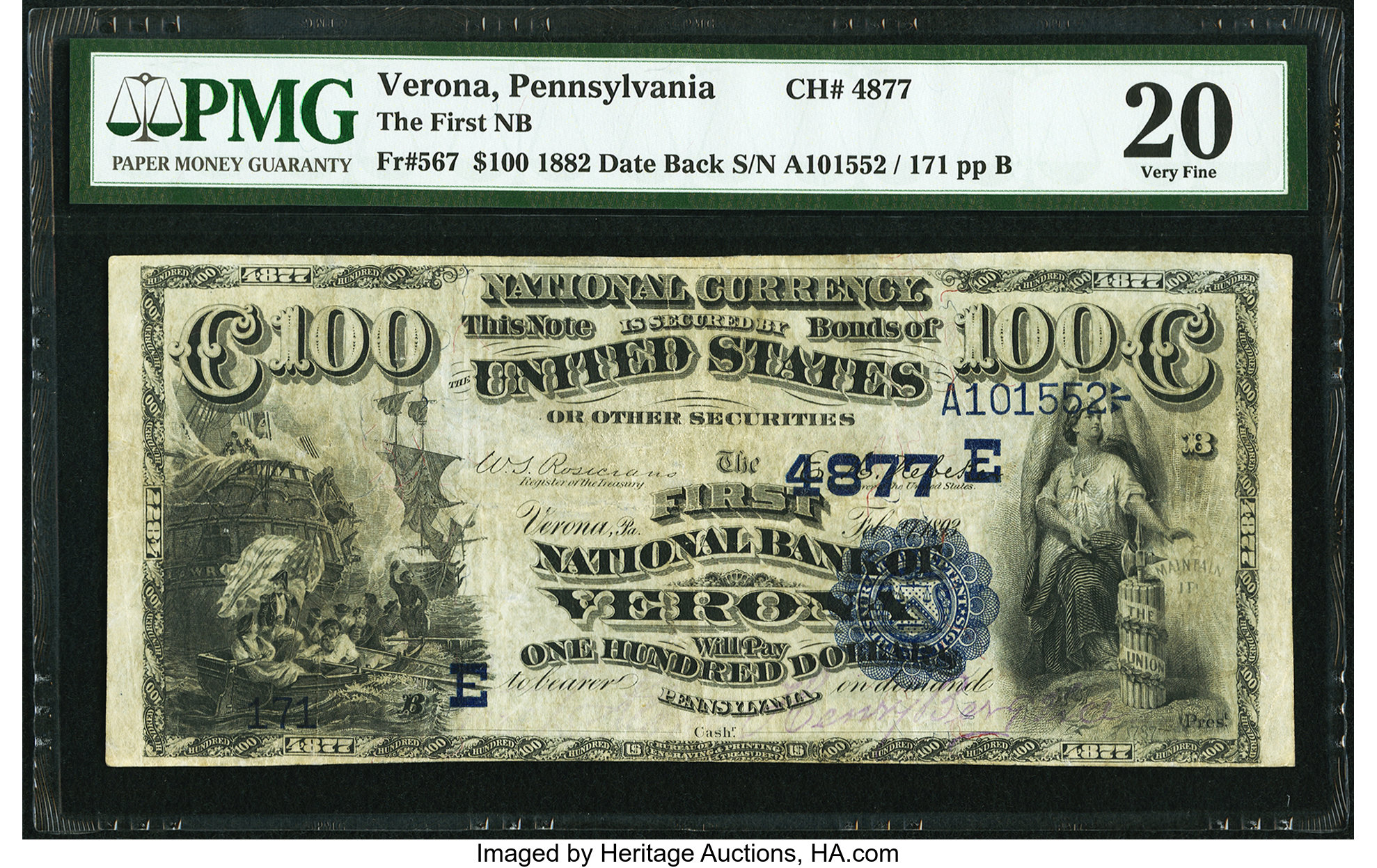 sample image for 1882 2nd Charter Period $100  Date Back 2nd Issue (Fr.# 567)