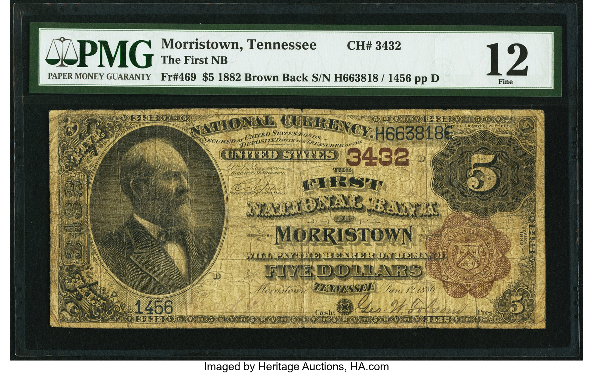 sample image for 1882 2nd Charter Period $5  Brown Back 1st Issue (Fr.# 469)