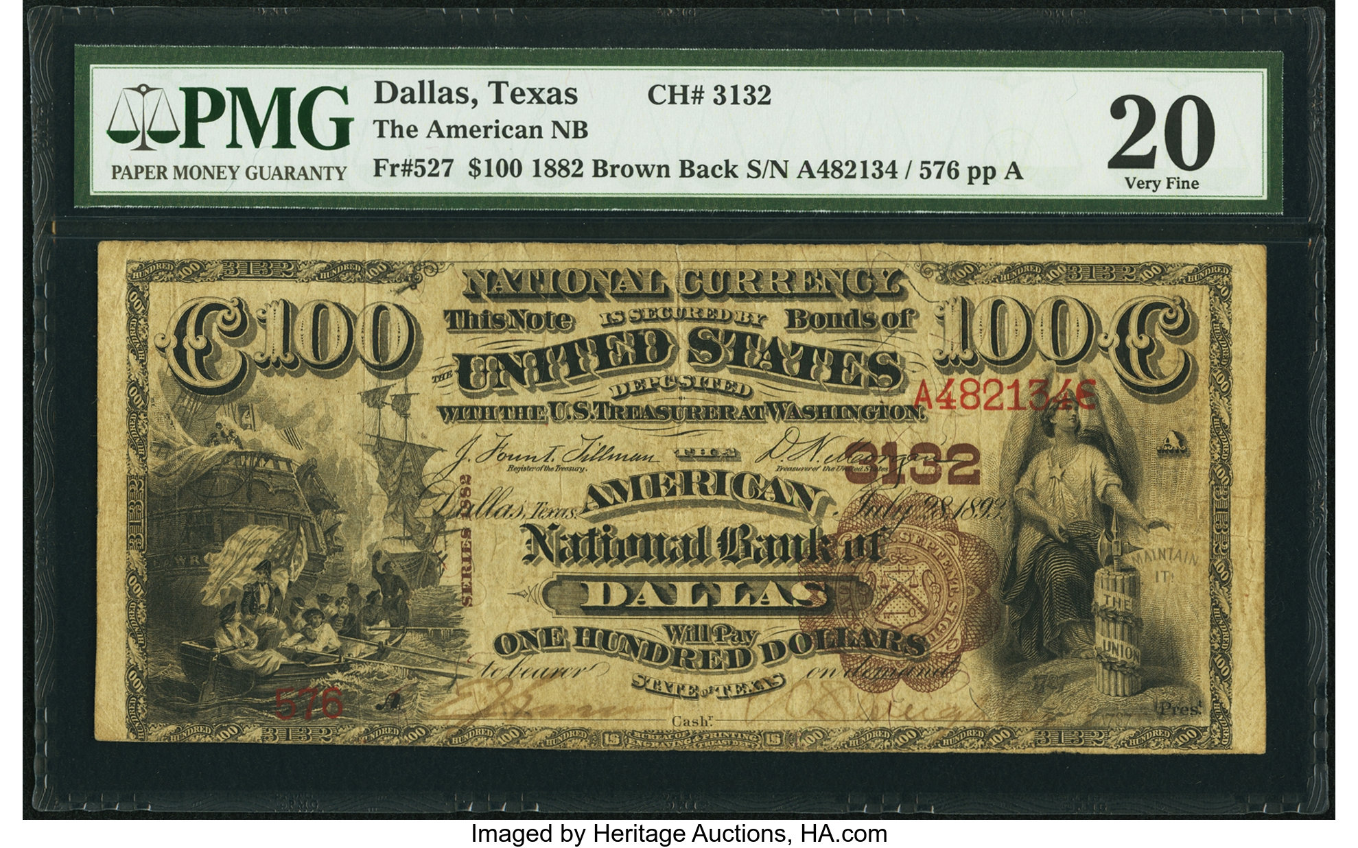 sample image for 1882 2nd Charter Period $100  Brown Back 1st Issue (Fr.# 527)