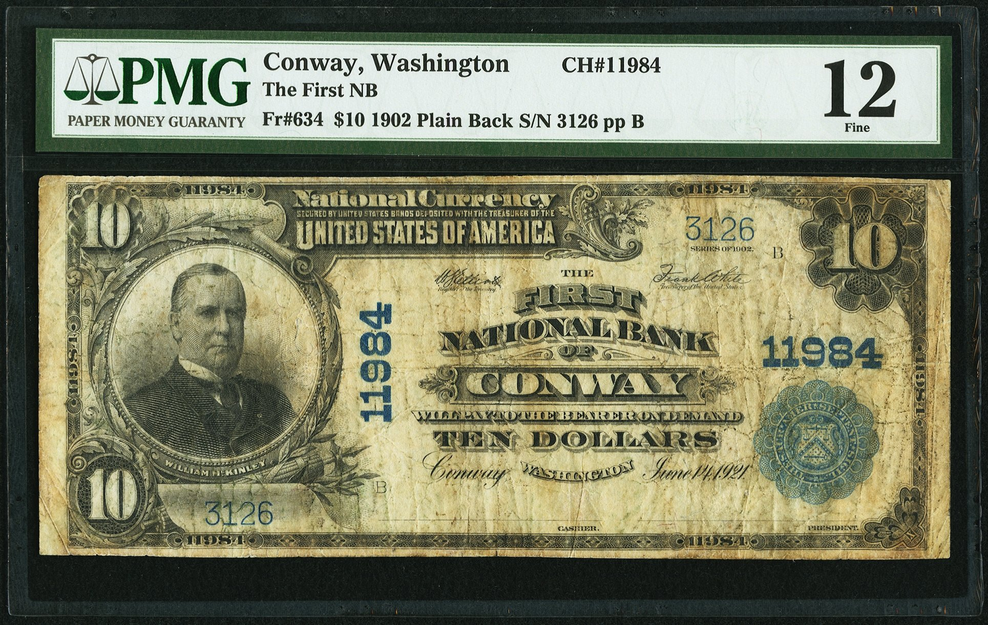 sample image for 1902 3rd Charter Period $10  Plain Back 3rd Issue (Fr.# 634)