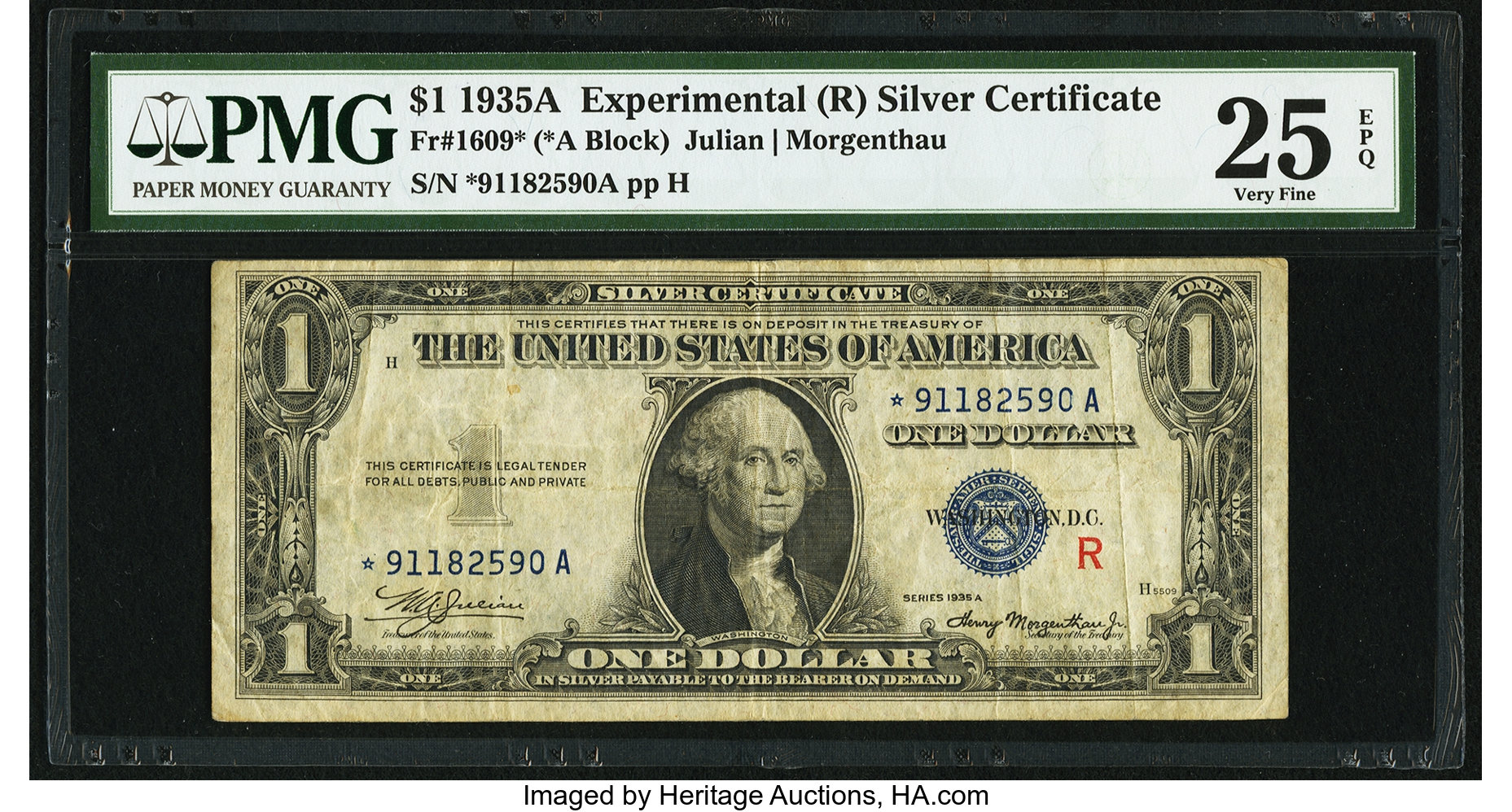 sample image for 1935A $1  R Experimental Replacement (Fr.# 1609*)