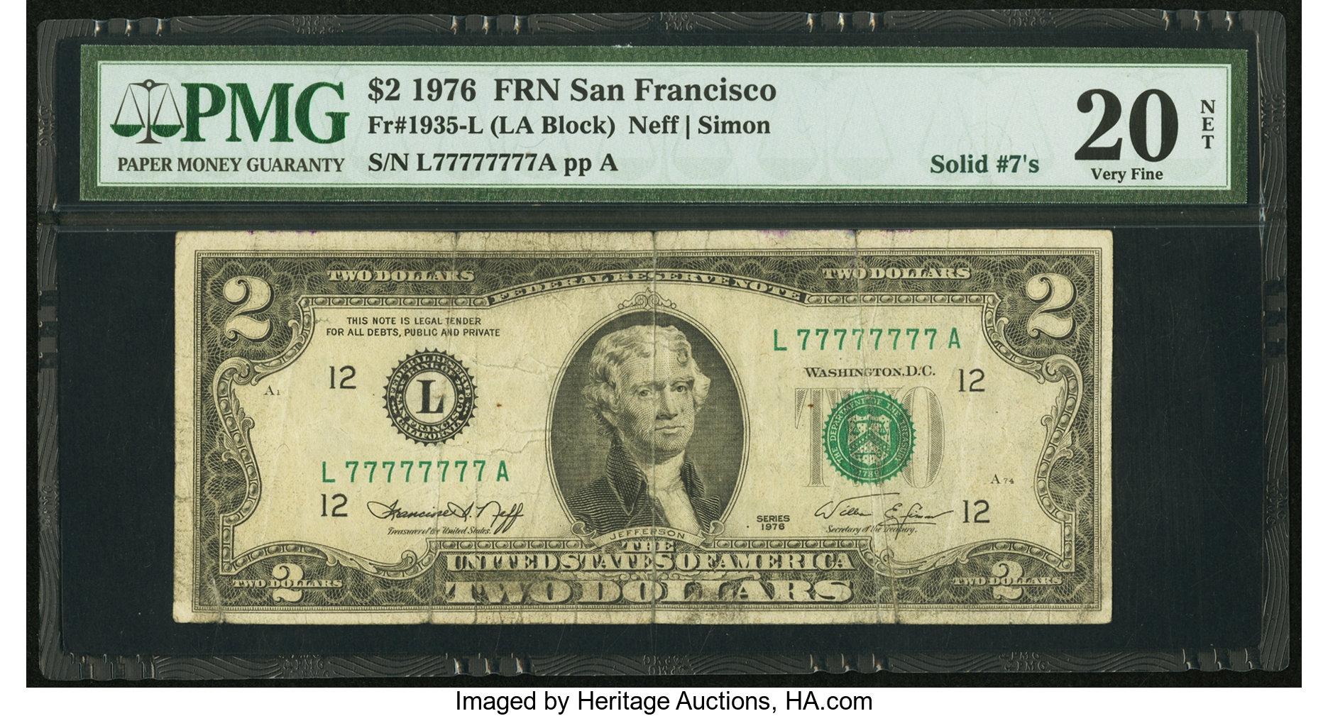 sample image for 1976 $2  San Francisco (Fr.# 1935L)