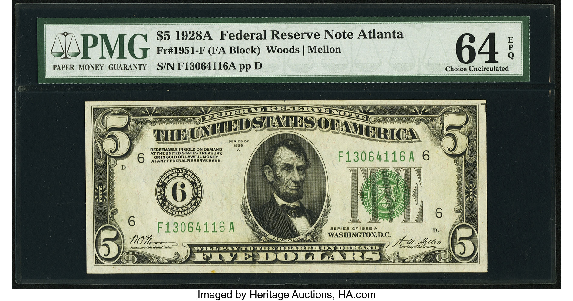 sample image for 1928A $5  Atlanta (Fr.# 1951F)