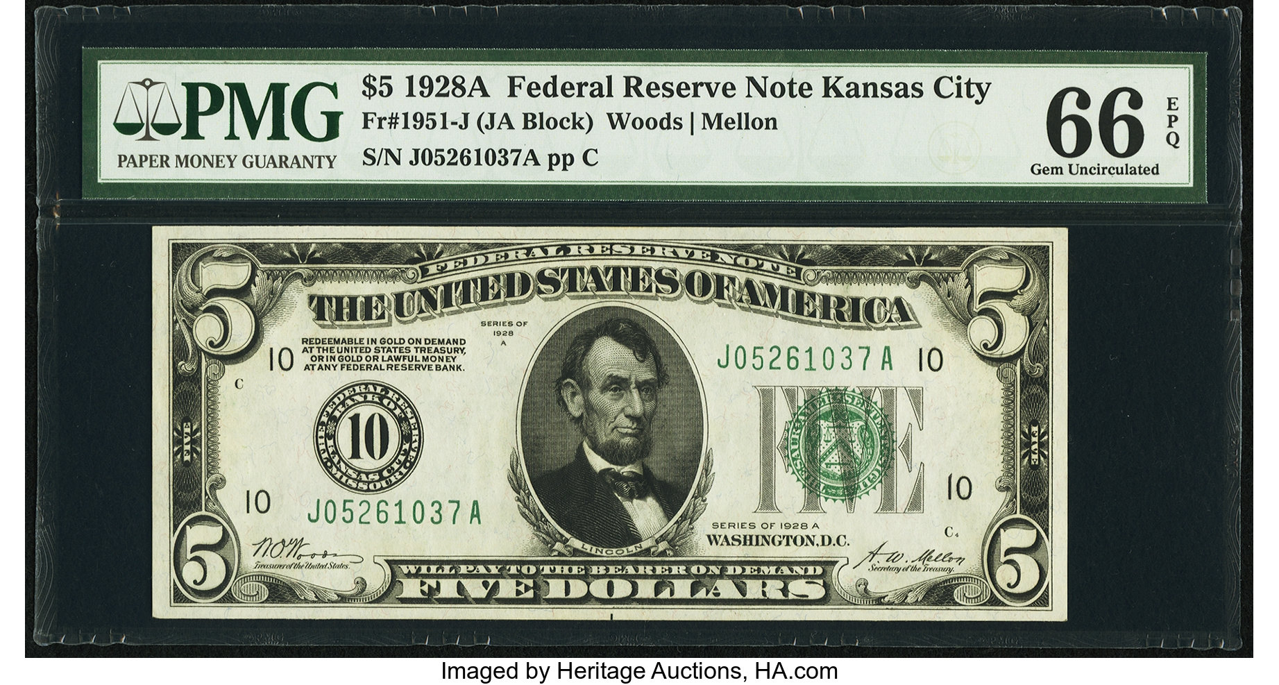 sample image for 1928A $5  Kansas City (Fr.# 1951J)