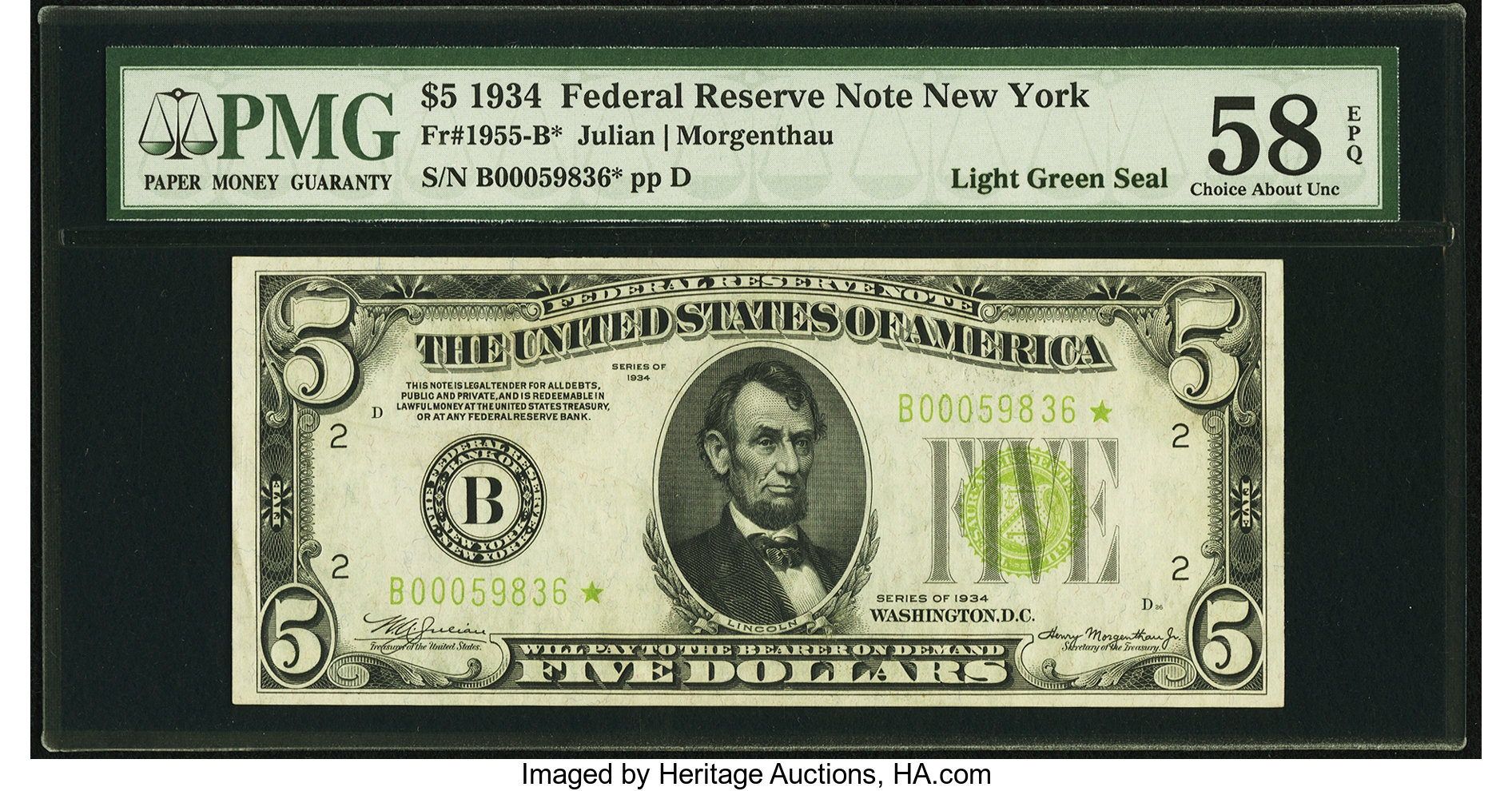 sample image for 1934 Light Green Seal $5  New York (Fr.# 1955B)