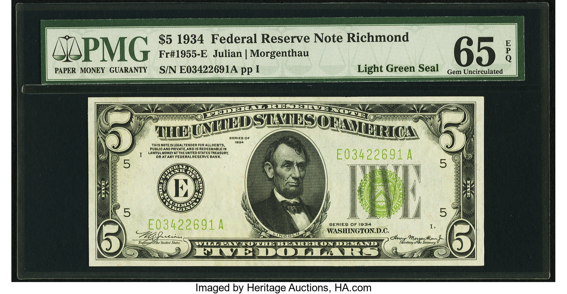 sample image for 1934 Light Green Seal $5  Richmond (Fr.# 1955E)