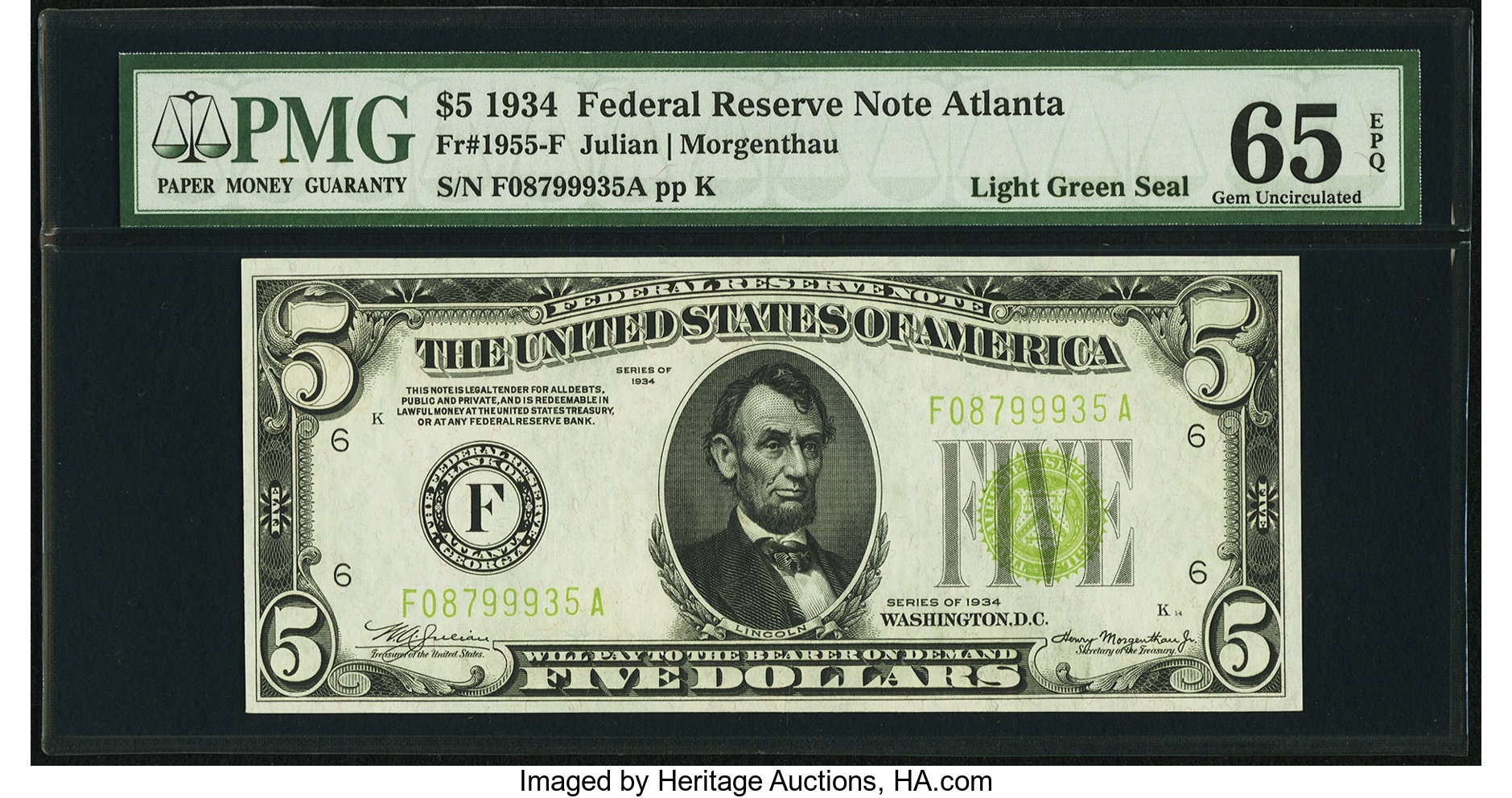 sample image for 1934 Light Green Seal $5  Atlanta (Fr.# 1955F)