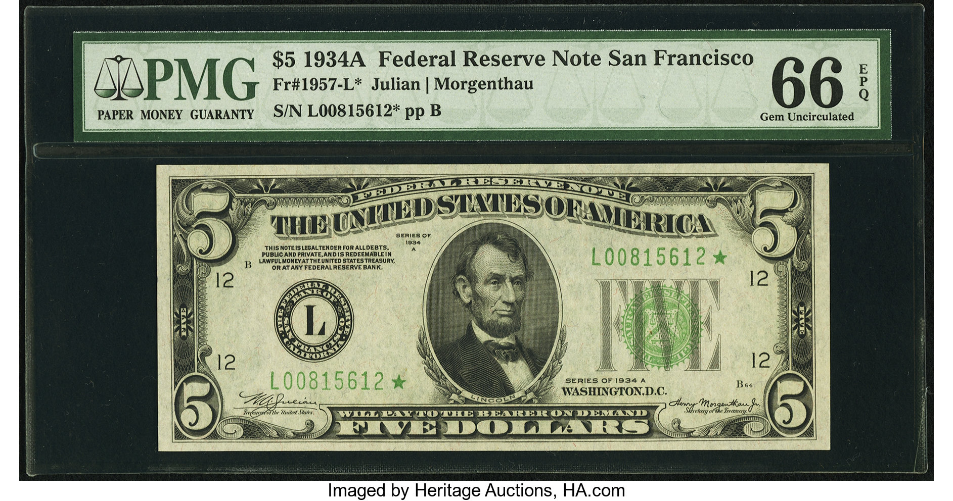 sample image for 1934A $5  San Francisco (Fr.# 1957L)