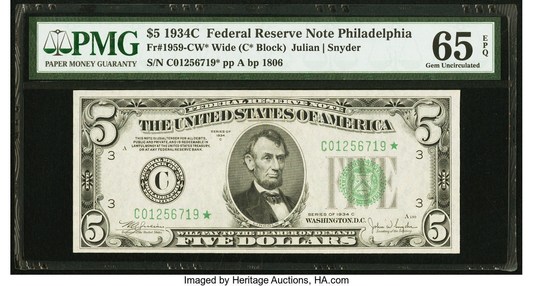sample image for 1934C Dark Green Seal $5  Philadelphia (Fr.# 1959C)