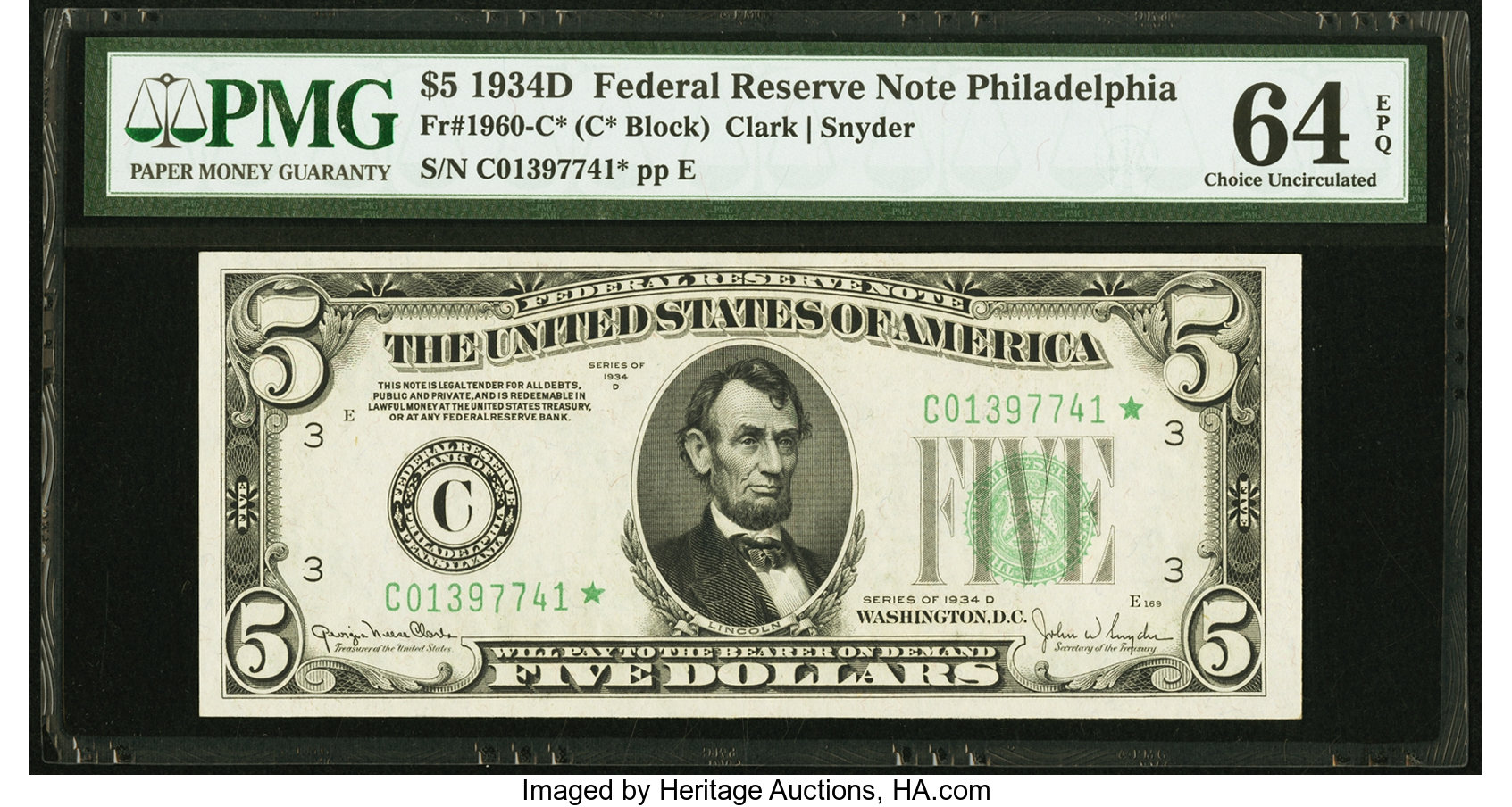 sample image for 1934D Dark Green Seal $5  Philadelphia (Fr.# 1960C)
