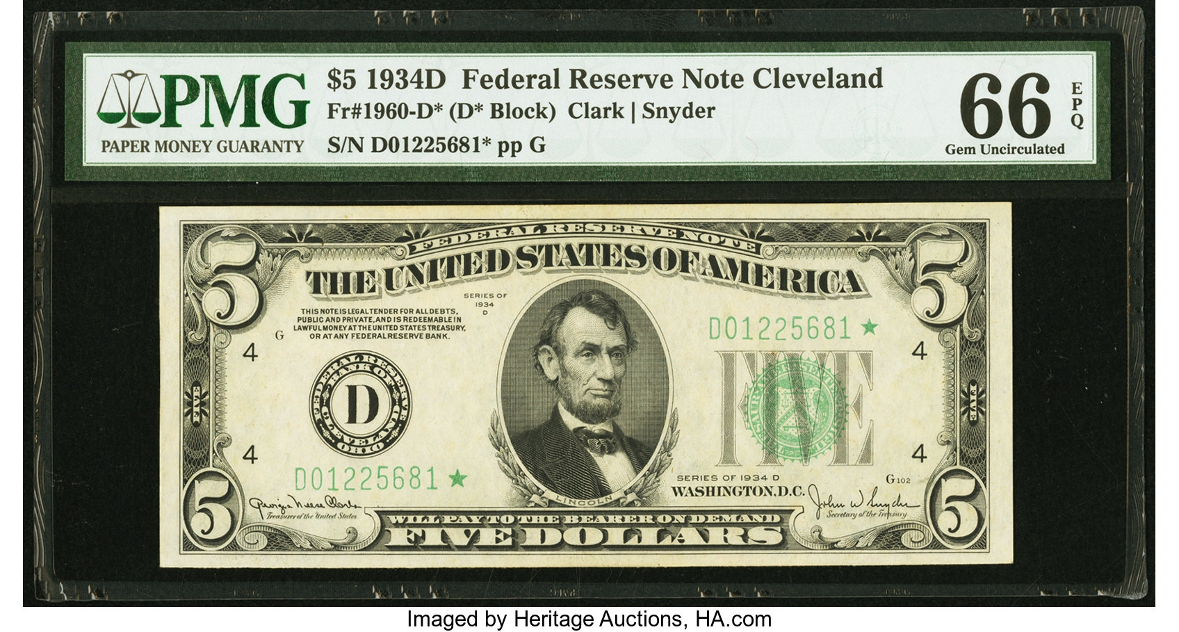 sample image for 1934D Dark Green Seal $5  Cleveland (Fr.# 1960D)