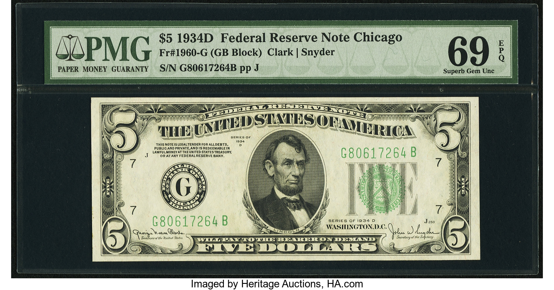 sample image for 1934D Dark Green Seal $5  Chicago (Fr.# 1960G)