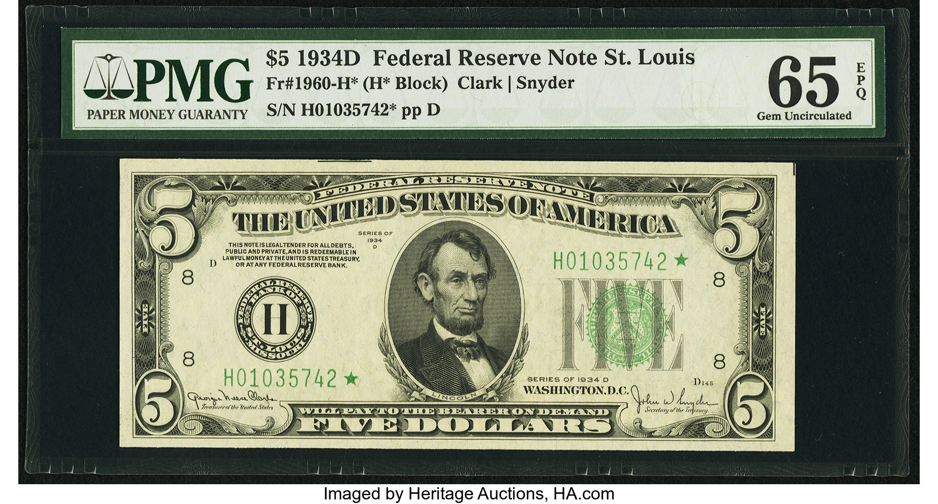sample image for 1934D Dark Green Seal $5  St. Louis (Fr.# 1960H)