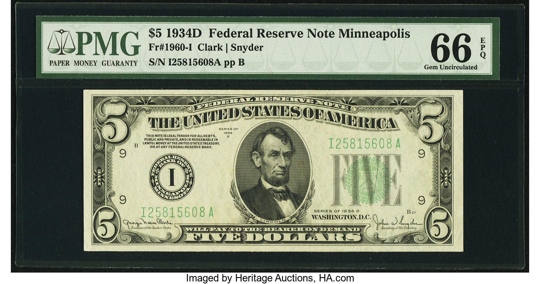 sample image for 1934D Dark Green Seal $5  Minneapolis (Fr.# 1960I)
