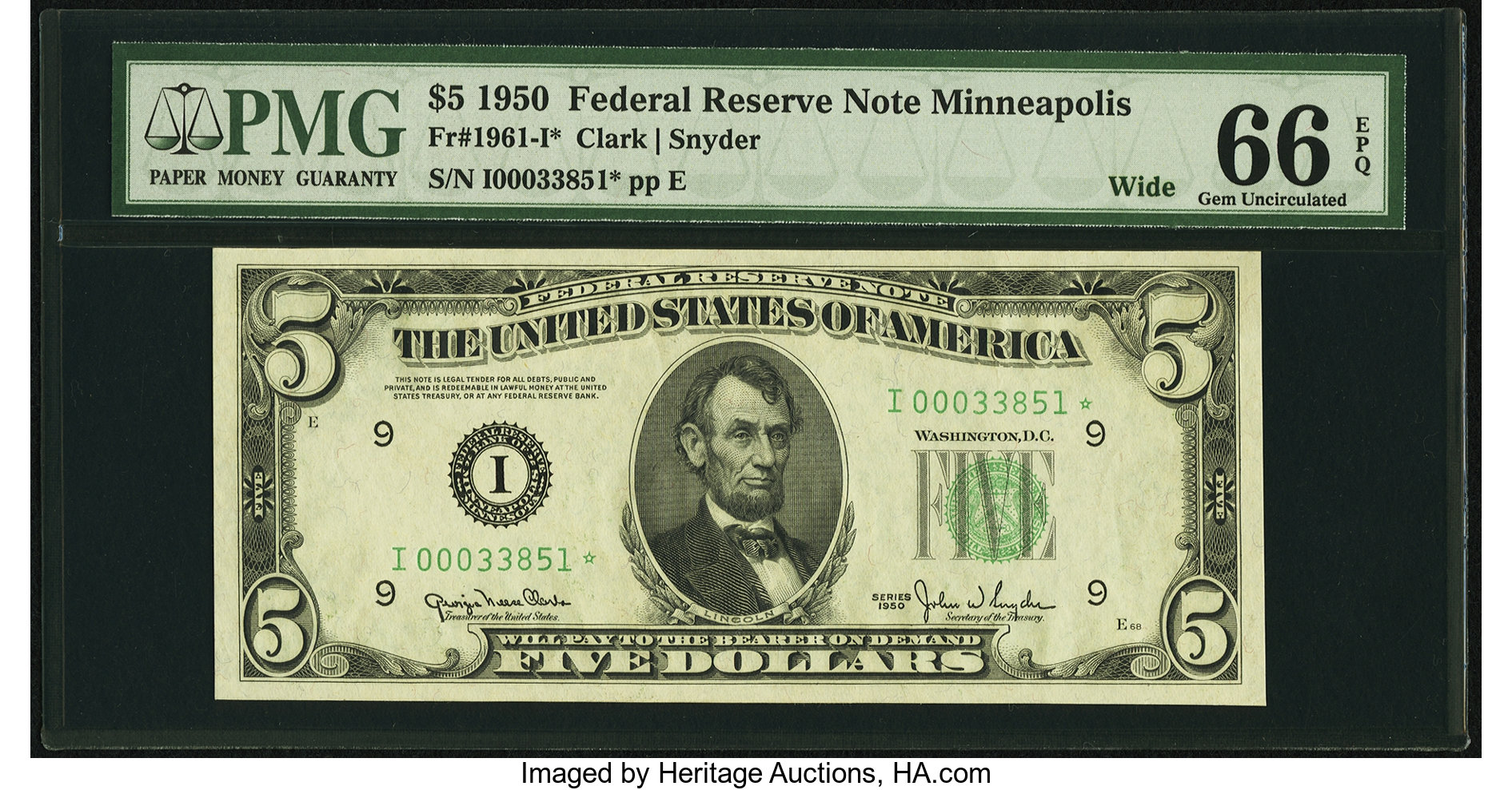 sample image for 1950 Dark Green Seal $5  (Fr.# 1961I)