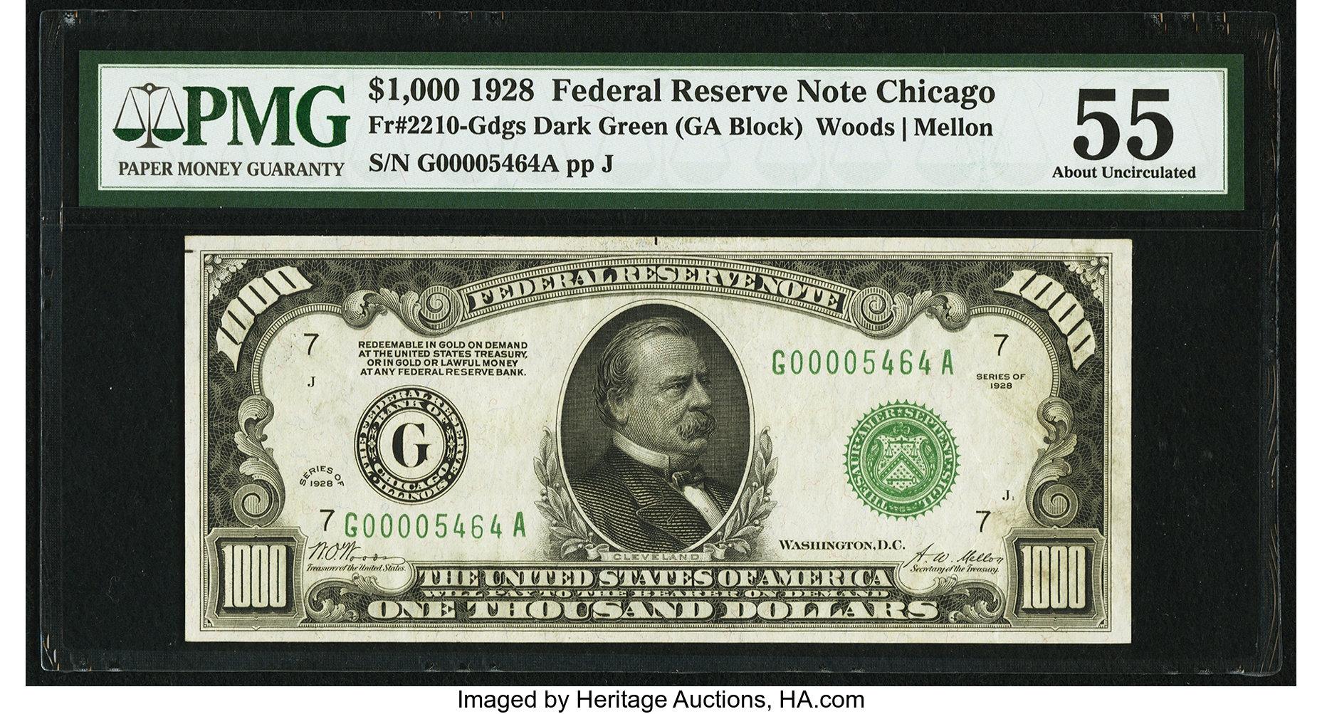 sample image for Fr.2210G $1,000 1928 Chicago
