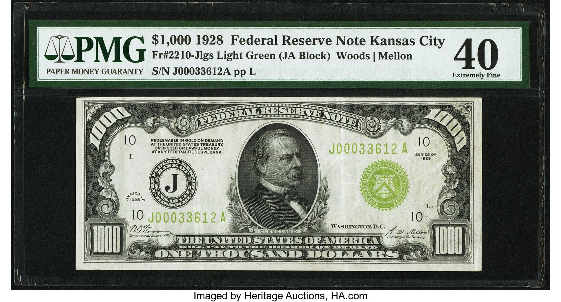 sample image for Fr.2210J $1,000 1928 Kansas City