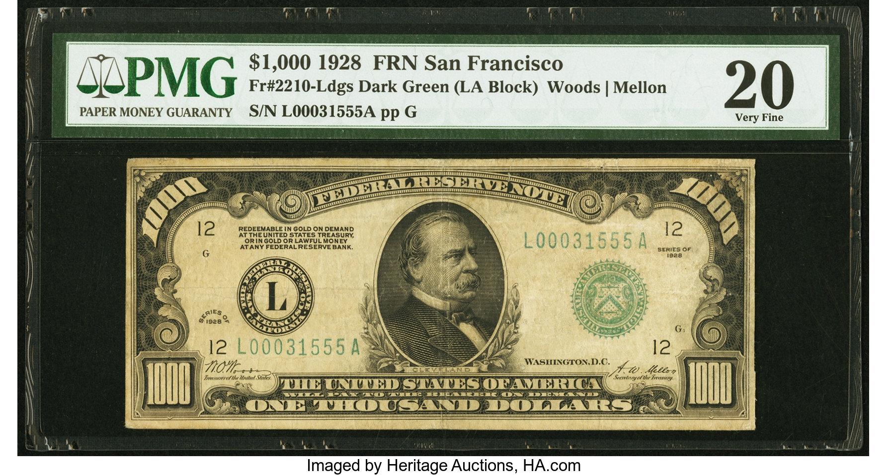 sample image for Fr.2210L $1,000 1928 San Francisco