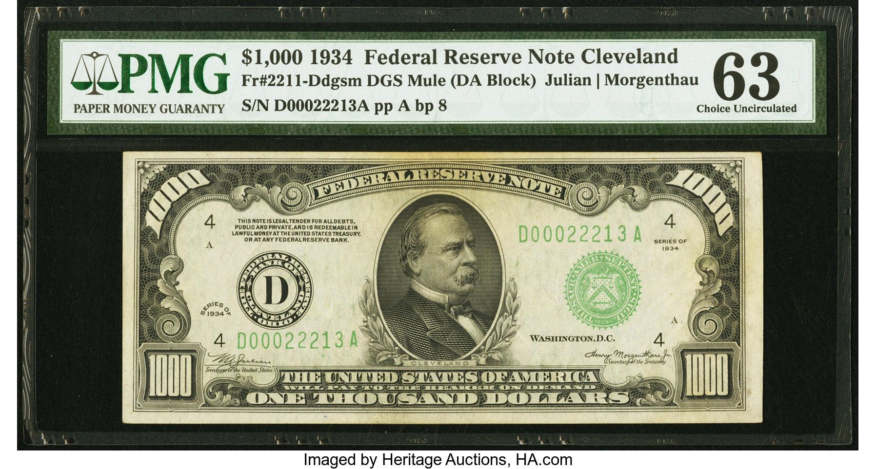 sample image for Fr.2211D $1,000 1934 Cleveland