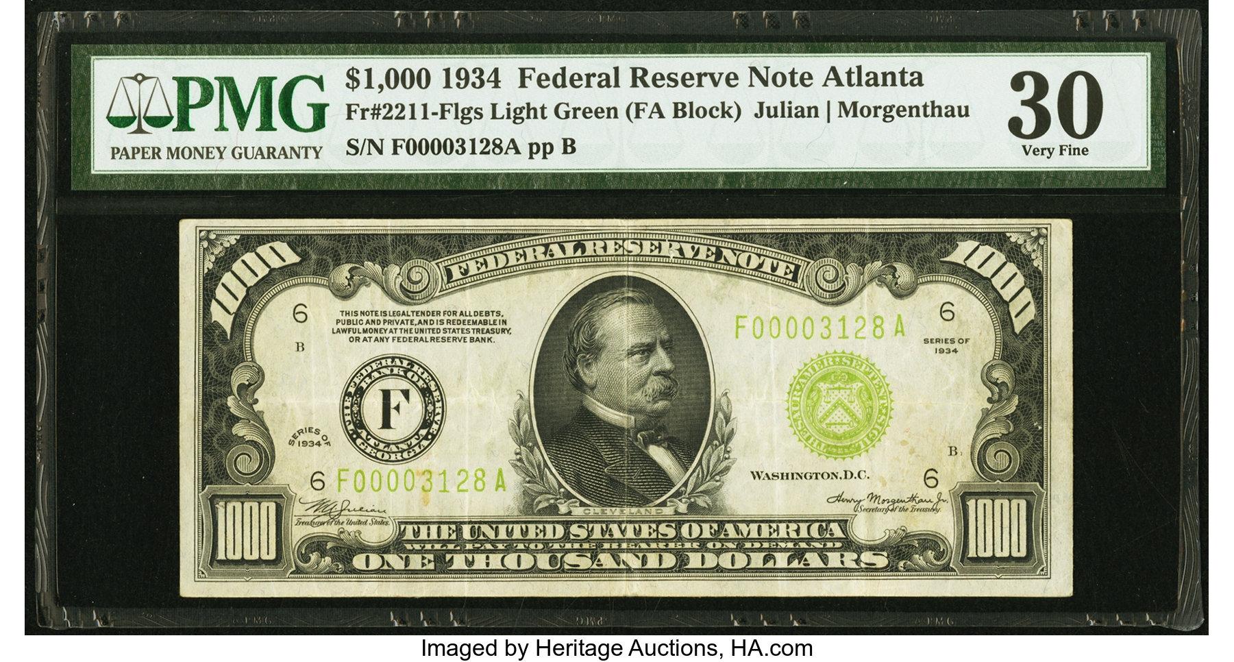 sample image for Fr.2211F $1,000 1934 Atlanta