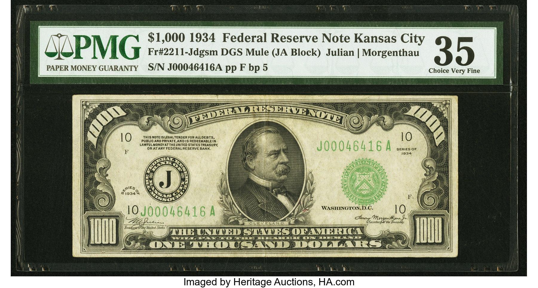 sample image for Fr.2211J $1,000 1934 Kansas City