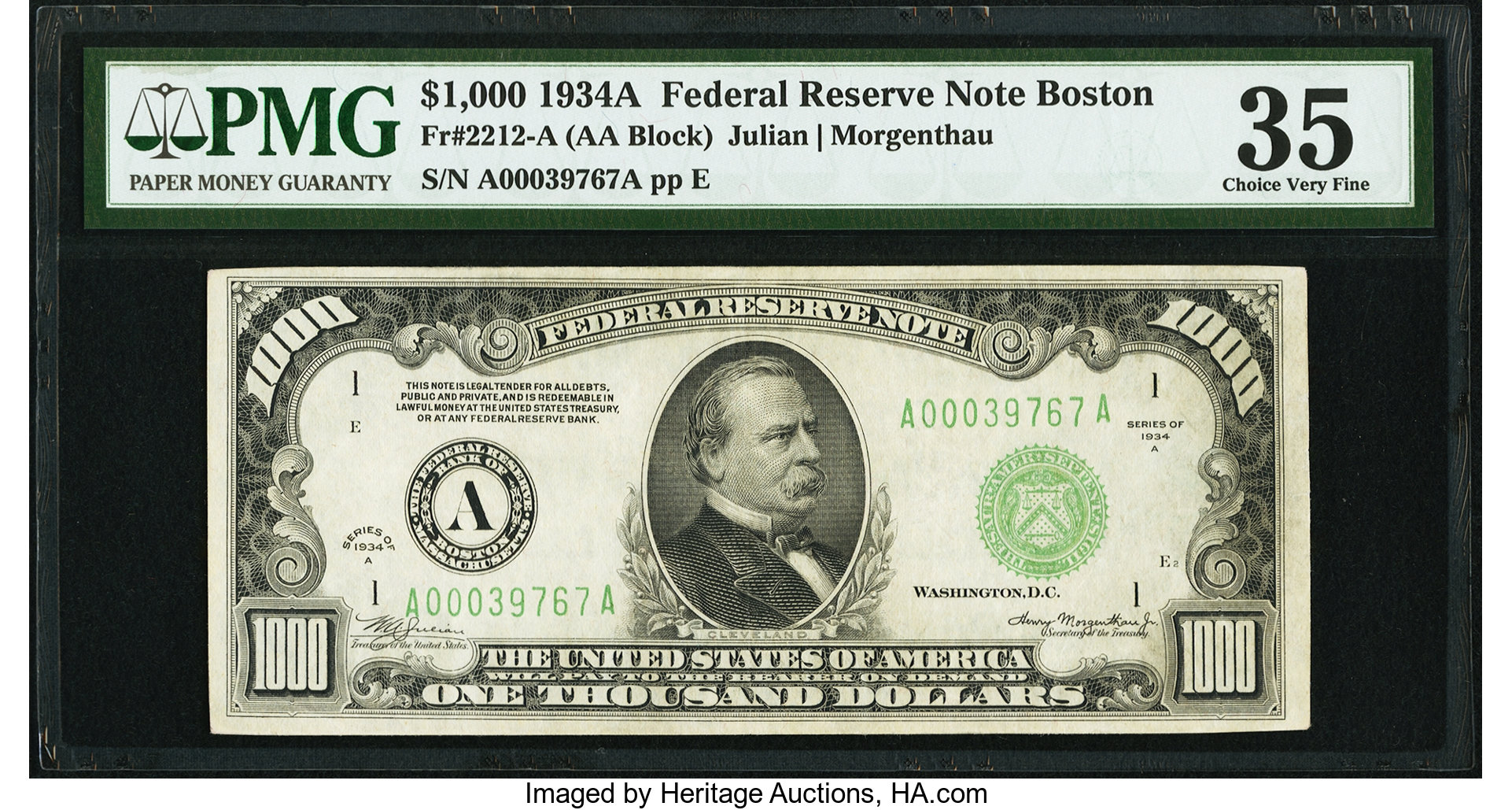 sample image for Fr.2212A $1,000 1934A Boston