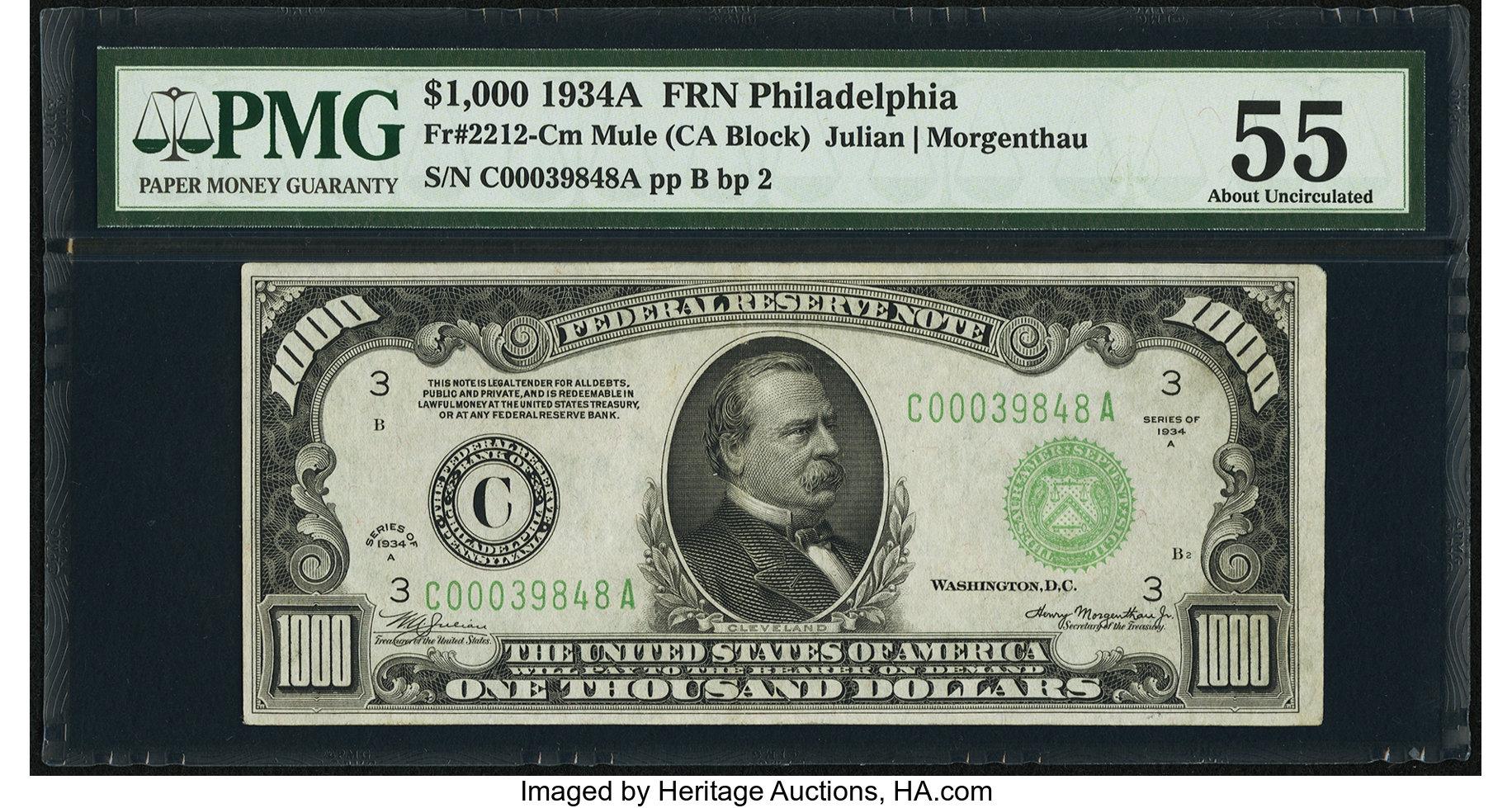 sample image for Fr.2212C $1,000 1934A Philadelphia
