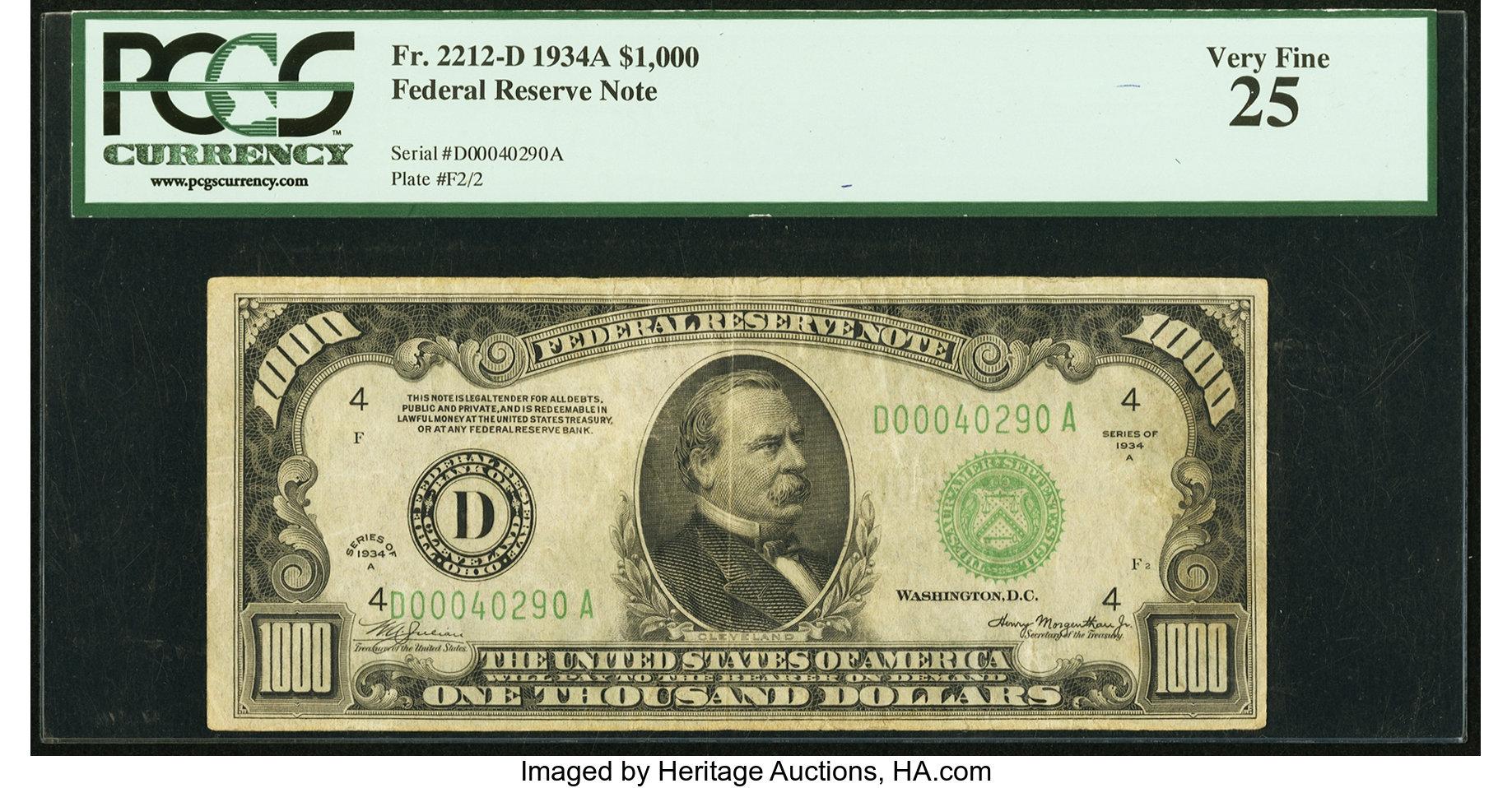 sample image for Fr.2212D $1,000 1934A Cleveland