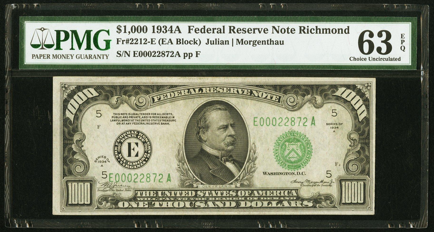 sample image for Fr.2212E $1,000 1934A Richmond
