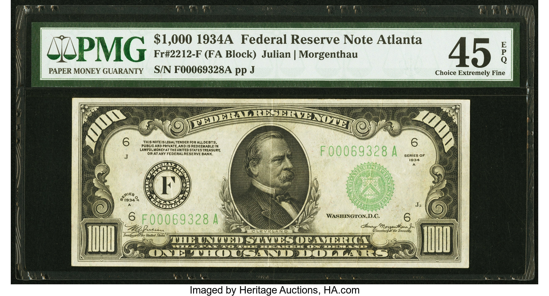 sample image for Fr.2212F $1,000 1934A Atlanta