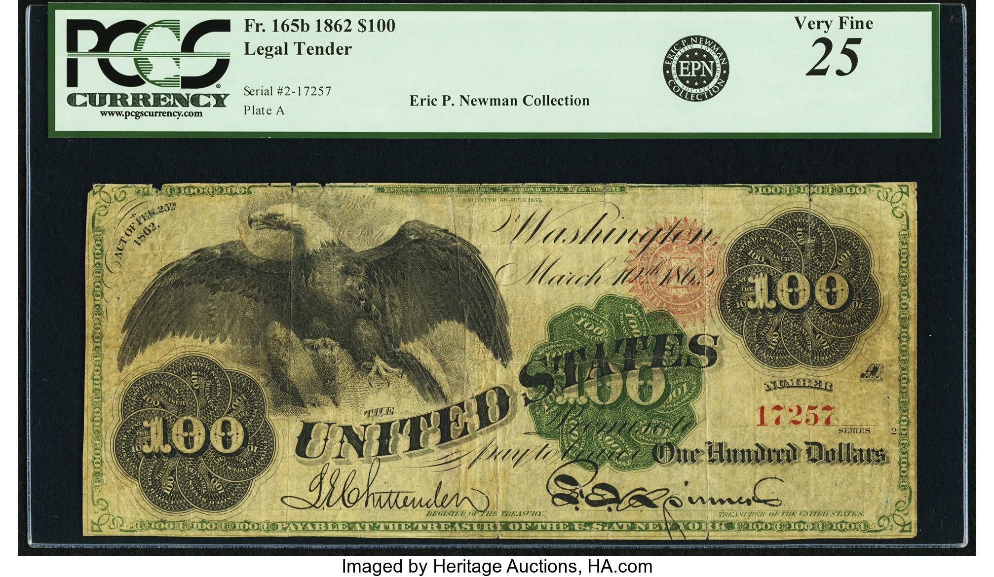 sample image for 1862 $100  Unique Seal Type 1 (Fr.# 165b)