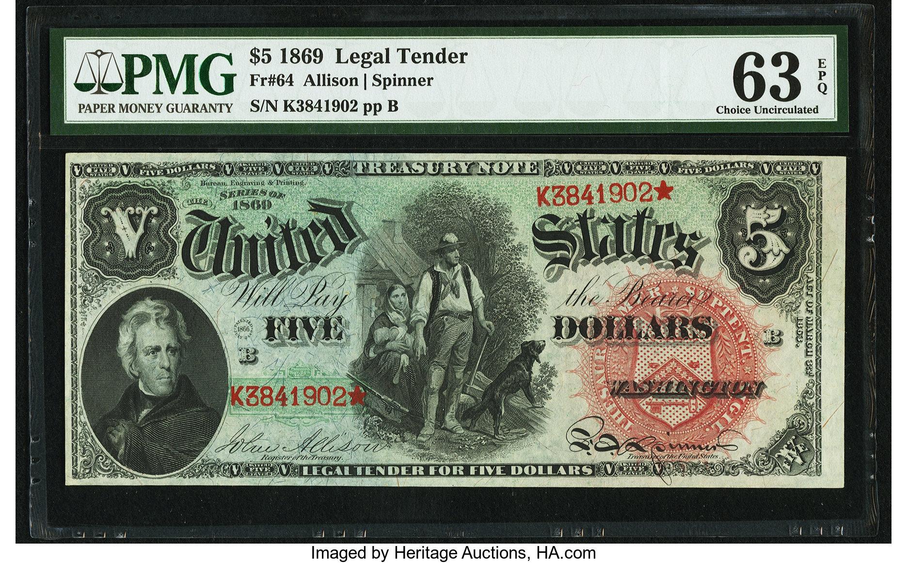 sample image for 1869 $5  (Fr.# 64)