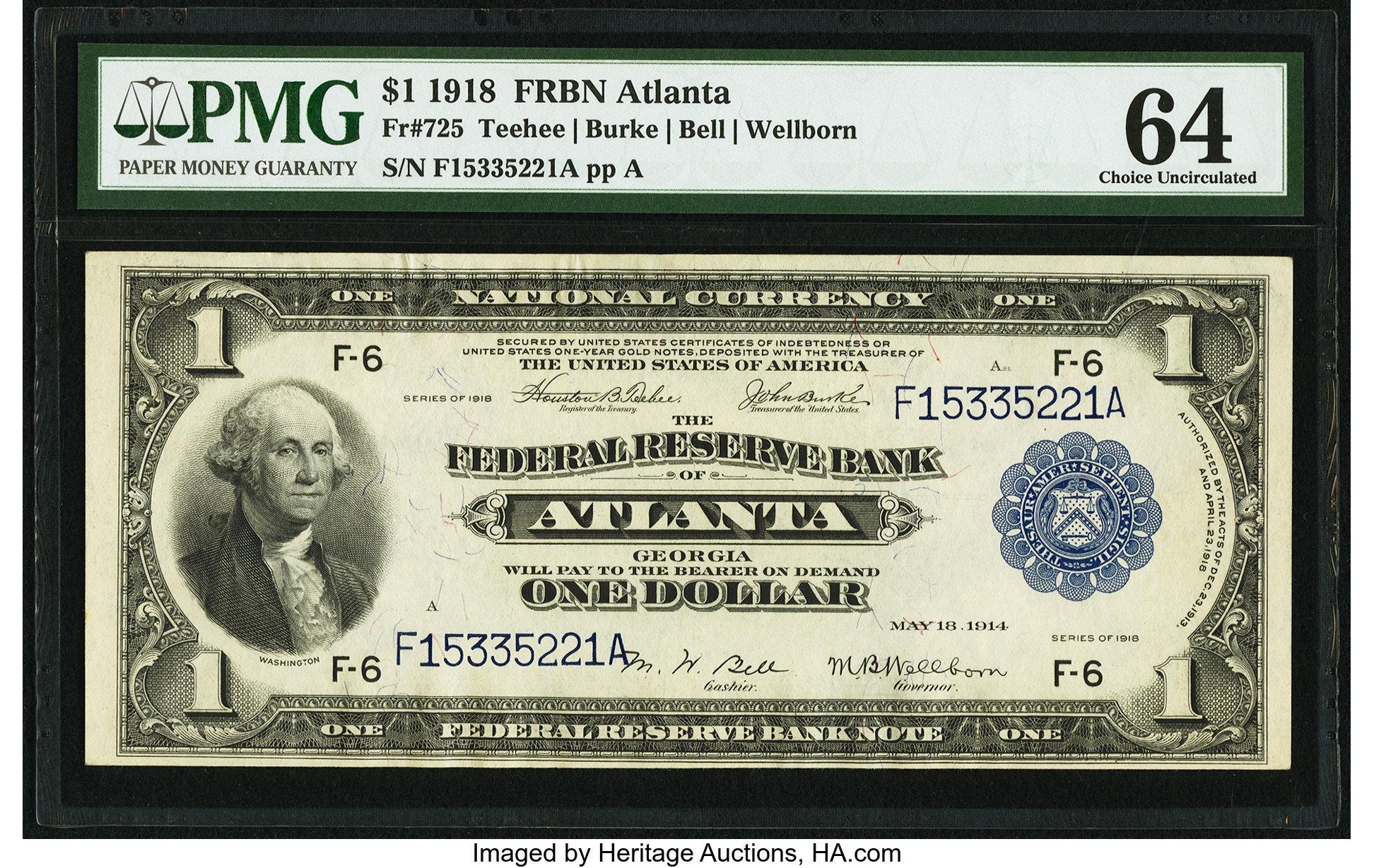sample image for 1918 $1  Atlanta (Fr.# 725)