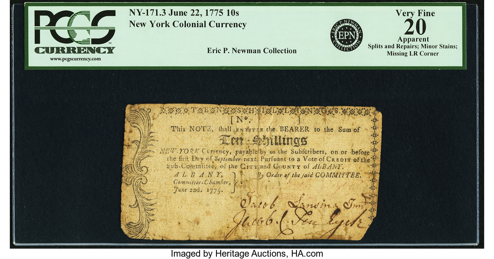 sample image for 1774 25-Aug 8s (Fr.# NY171)