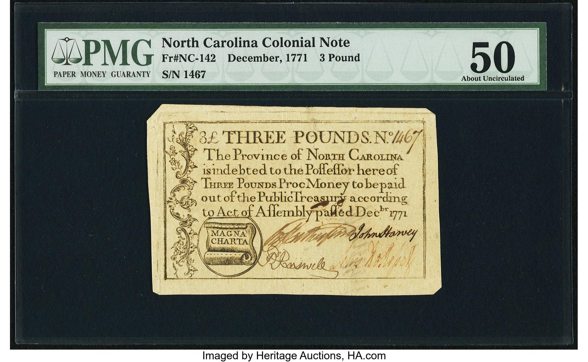 sample image for 1771 December  3 Pounds (Fr.# NC142)