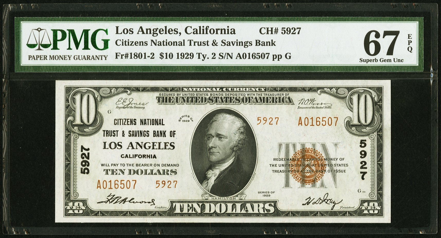 sample image for Fr.1801-2 $10 1929