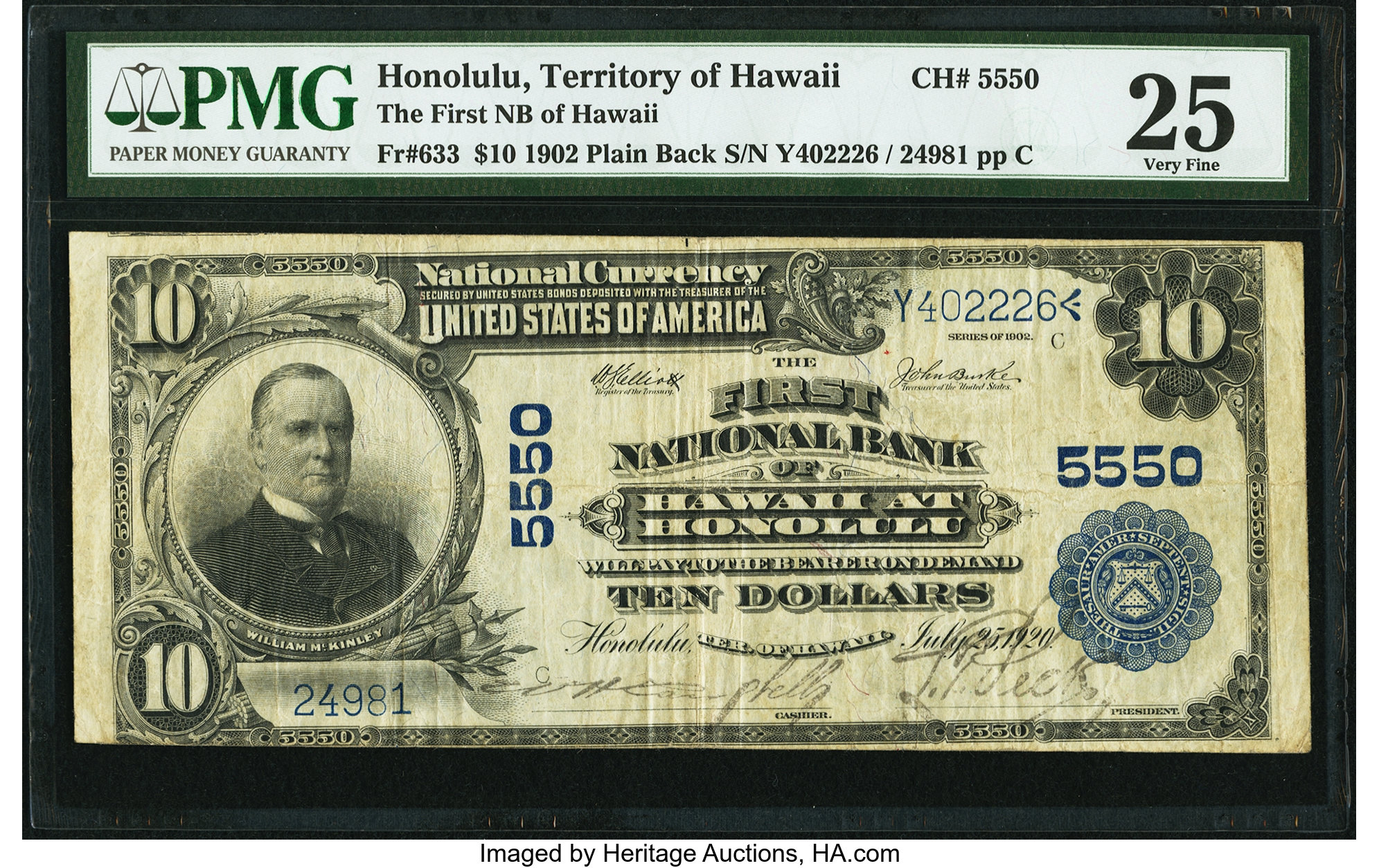 sample image for 1902 3rd Charter Period $10  Plain Back 3rd Issue (Fr.# 633)