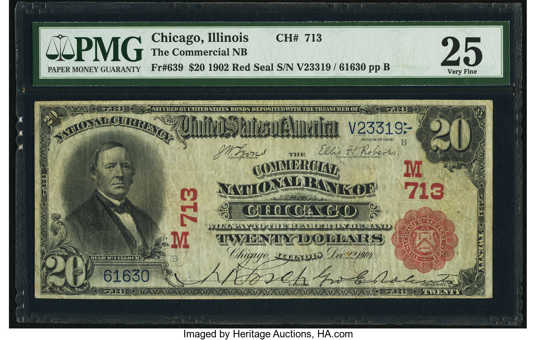 sample image for 1902 3rd Charter Period $20  Red Seal 1st Issue (Fr.# 639)