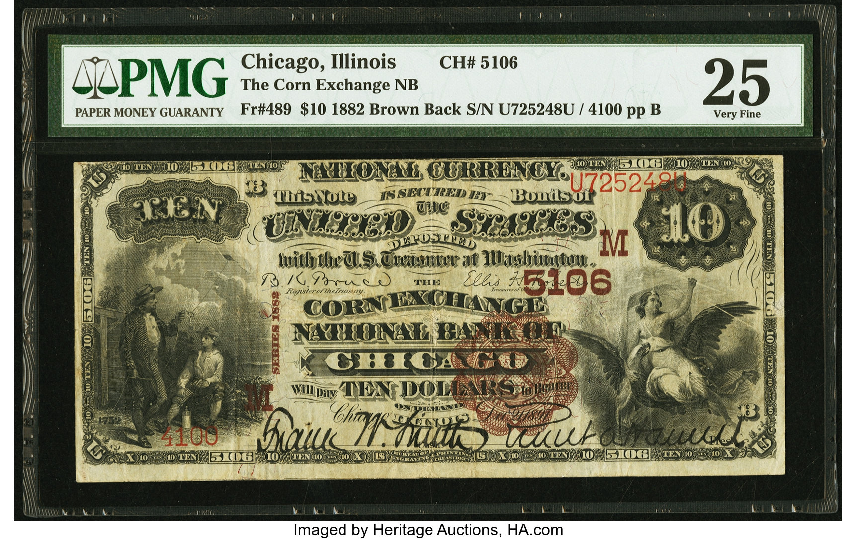 sample image for 1882 2nd Charter Period $10  Brown Back 1st Issue (Fr.# 489)