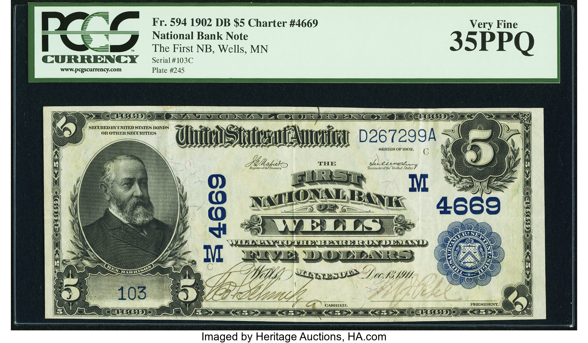 sample image for 1902 3rd Charter Period $5  Date Back 2nd Issue (Fr.# 594)